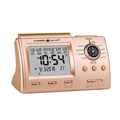 (Karooch Multi-Function Muslim Prayer Clock Desktop Alarm Clock Compass Electronic Calendar for Home Bedroom Camping)