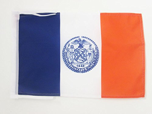 NEW YORK CITY FLAG 18'' x 12'' cords - AMERICAN - USA SMALL