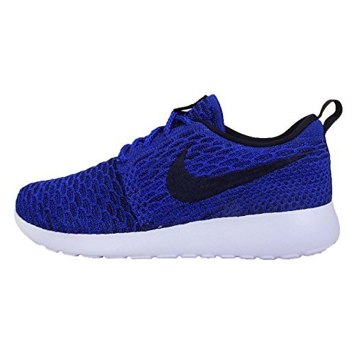 NIKE Women's Wmns Roshe One Flyknit, Game RoyalDark Obsidian Black PRPS, 7 US