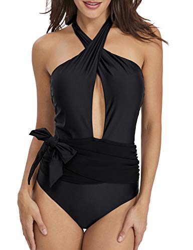 Paiyiku Women's One Piece Swimsuits Cross Front Halter Neck Ruched High Leg Monokini XL,Black