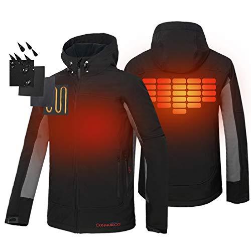 CONQUECO Men's Heated Jacket Waterproof Softshell Fleece Hoodie Jacket Outdoors Battery Pack (XL) Black