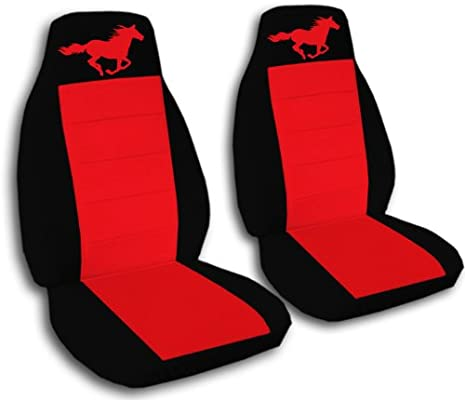 1994 2004 Ford Mustang Seat Covers Black And Red With A Horse Fits Convertible Coupe Or Any GT