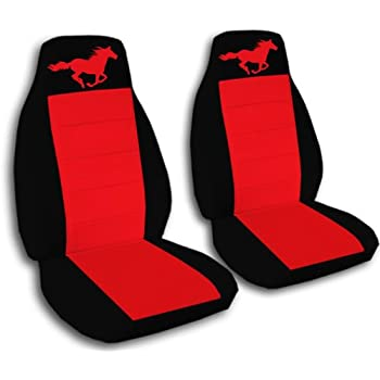 1994 2004 ford mustang seat covers black and red with a horse fits a convertible. Black Bedroom Furniture Sets. Home Design Ideas
