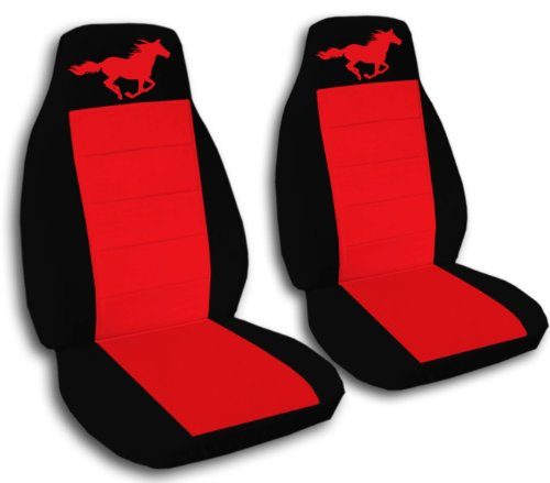 (1994-2004 Ford Mustang Seat Covers Black and Red with a Horse Fits a Convertible, Coupe or any)