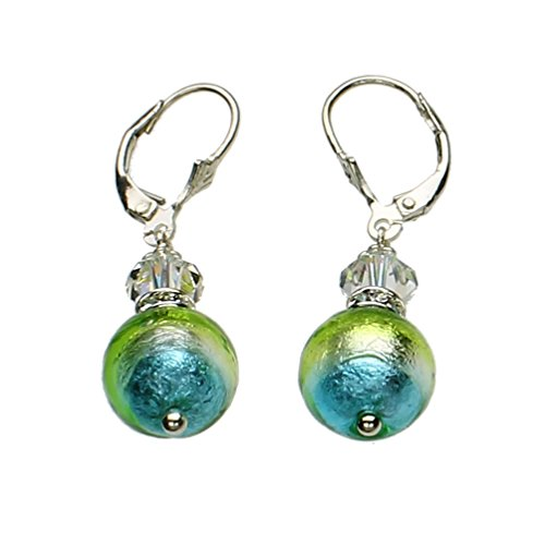 (Sterling Silver Leverback Earrings Aqua Murano-style Glass Made with Swarovski Crystals)