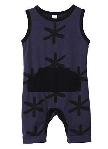 Baby Boys Summer Sleeveless Printing Cotton Romper Jumpsuit