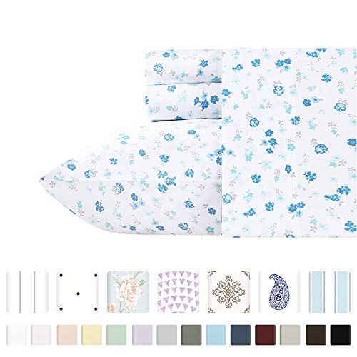 California Design Den 400-Thread-Count 100% Pure Cotton King Sheets – 4 Piece Blooming Meadows Printed Sheet Set, Smooth Sateen Weave Natural Cotton Bedding, Deep Pocket Fits Mattress 16 Inches