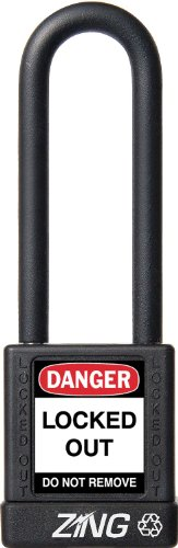 """ZING 7053 RecycLock Safety Padlock, Keyed Alike, 3"""" Shackle, 1-3/4"""" Body, Black from Zing Green Products"""