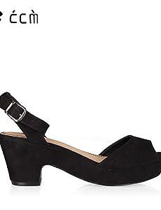 MEIREN Womens Shoes Chunky Heel Peep Toe Platform Ankle Strap Sandals  Office  Career Party  Evening Casual Black Shoes        blackus9510   eu41    uk758
