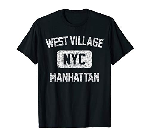 (West Village T Shirt - Gym Style Distressed White Print)