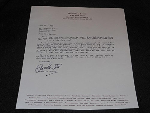 - Danielle Steel Hand Signed TLS Typed Autographed Letter Official Stationary SR