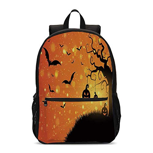 Halloween Durable Backpack,Magical Fantastic Evil Night Icons Swirled Branches Haunted Forest Hill Decorative for School Travel,12.2