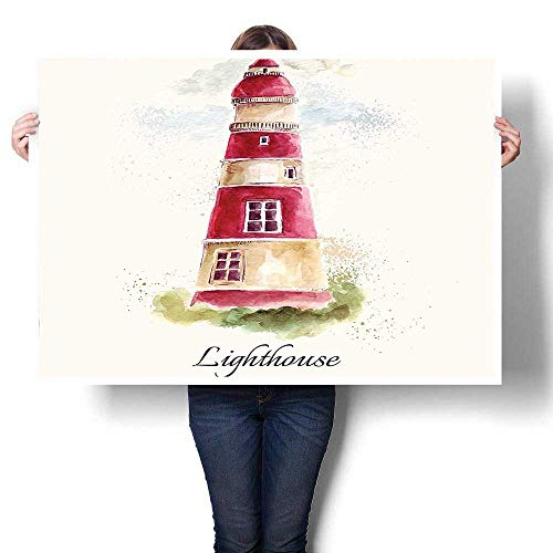 SCOCICI1588 Canvas Prints Wall Art,Watercolor Lighthouse Print Pastel Faded Vintage Cursive Lettering Windows Grass Clouds Mu Canvas,Colorful Paintings for Living Room,60