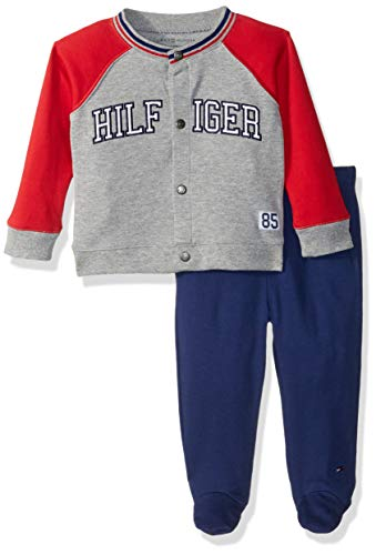 Tommy Hilfiger Baby Boys 2 Pieces Cardigan Pant Set, red/Gray/Navy, 6-9 Months ()