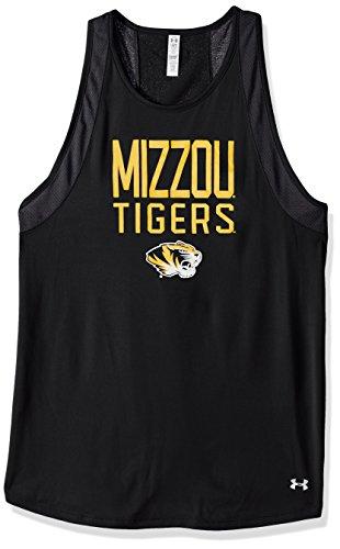 (Under Armour NCAA Missouri Tigers Women's Mesh Tech Tank, Large, Black)
