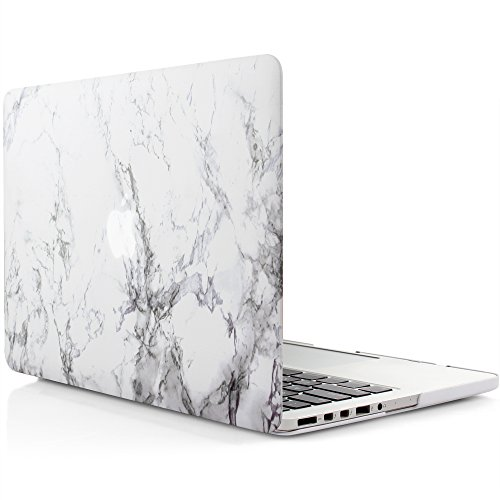 iDOO Soft Touch Plastic Hard Matte Case ONLY for MacBook Pro 13 inch with Retina Display NO CD Drive (A1425 / A1502) - White Marble
