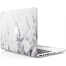 iDOO Marble Pattern Case for [ MacBook Pro 13 inch Retina ] (Model: A1425 and A1502 without CD Drive )- Matte Rubber Coated Hard Shell Cover - White