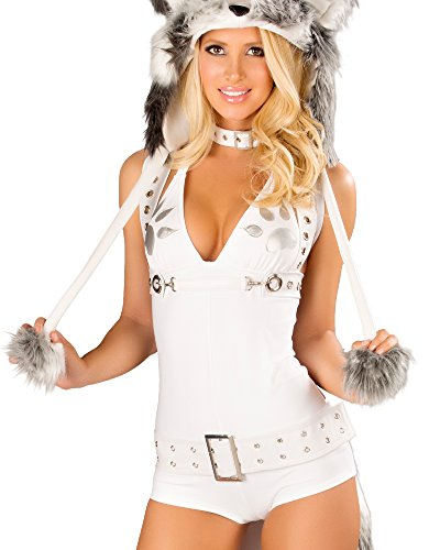 J Valentine Husky Costume - J. Valentine Women's Husky Romper, White/Grey, Small