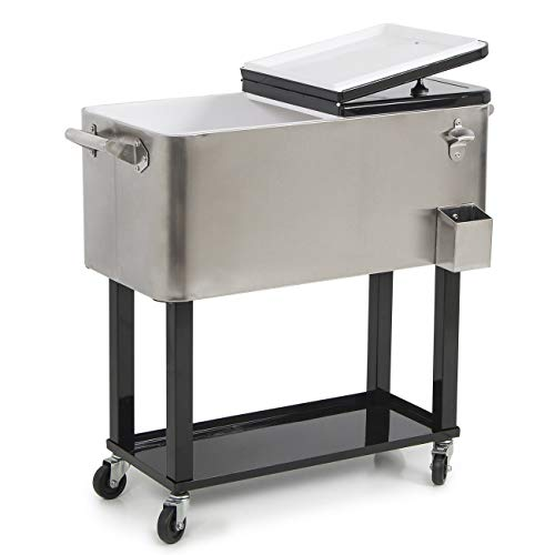 poppip Cart Cooler Portable Rolling Outdoor Party Ice Patio Chest 80 qt Beverage Drink Beer Quart TrolleyWagon