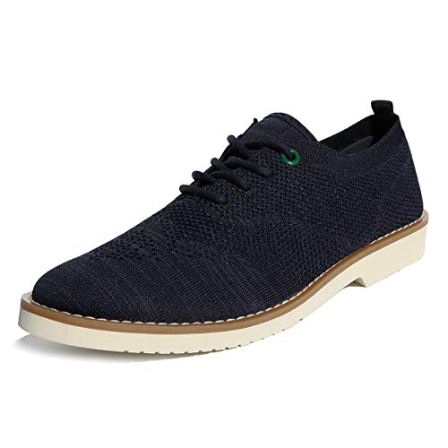 Men's Oxfords Shoes Mesh Breathable Casual Wingtip Dress Shoes Navy Blue