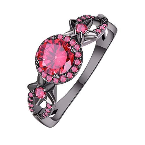 Jade Floral Band Ring - PAKULA Women Simulated Garnet Floral Band CZ Halo Black Ring Size 8