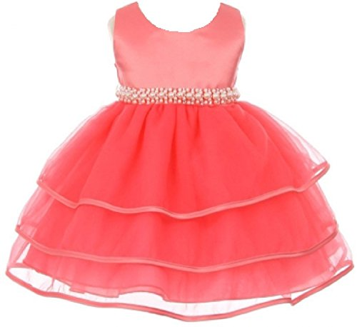 Organza Bow Collection - BluNight Collection Satin Organza Ruffle Tiers Beaded Waist Infant Baby Princess Flower Girl Dress (BC11B3) Coral S