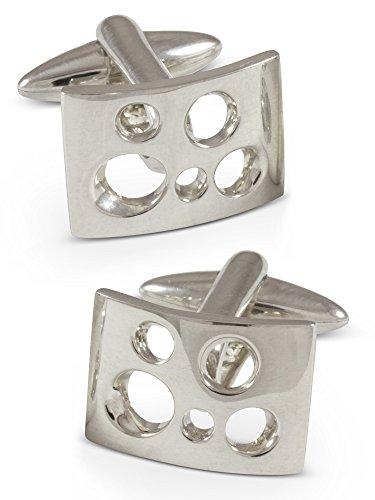 ZAUNICK Swiss Cheese Cufflinks Sterling (Geometric Sterling Silver Cufflinks)