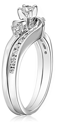 amazoncom igi certified 14k white gold interlocking diamond bypass bridal ring set 12 cttw h i color i1 i2 clarity jewelry - Interlocking Wedding Rings