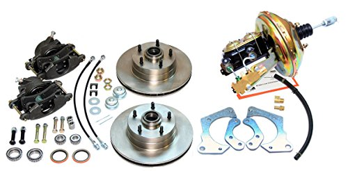 Compatible With 1967-1968 Chevrolet Impala Front Power Disc Brake Conversion Wheel Booster Set Kit