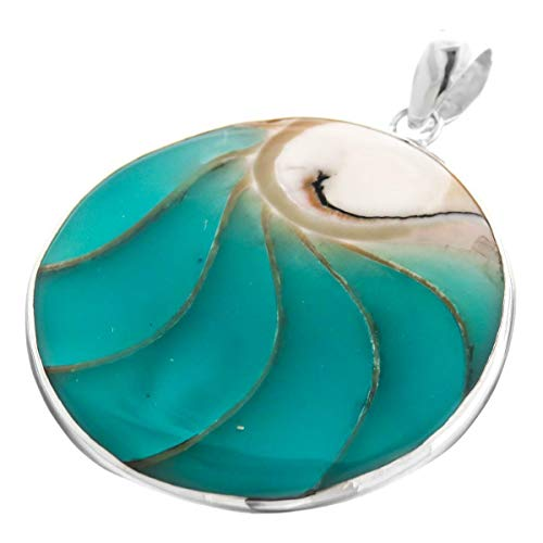 (2 3/16'' Round Turquoise Blue Nautilus Shell 925 Sterling Silver Pendant YE-1702)
