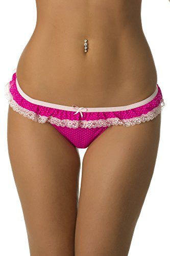 Pretty in Pink polka dot thong features baby pink lace ruffle and satin bow at waist.