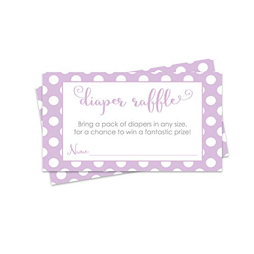 - Purple Diaper Raffle Cards - Baby Shower Game - Set of 25