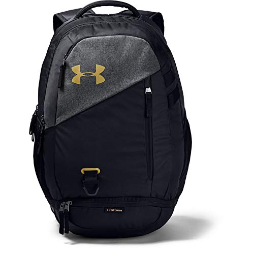 Under Armour unisex-adult Hustle 4.0 Backpack, Black (003)/Metallic Gold, One Size Fits All