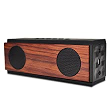 Bluetooth Wooden Speaker, MroTech Wireless Portable Travel Speaker Genuine Rosewood Mini Speaker with Subwoofers and Enhanced Bass for Laptop Desktop iPhone iPad iPod Samsung, etc