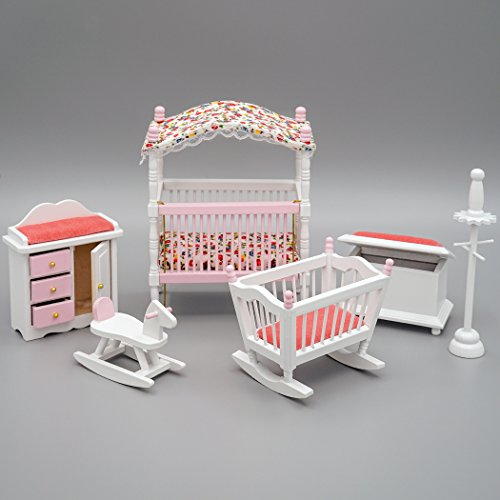 Odoria 1:12 Miniature Baby's Room Crib Set Dollhouse Furniture Accessories