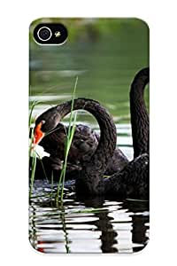Mleqea-4931-eqmosgc Special Design Back Black Swans Phone Case Cover For Iphone 4/4s