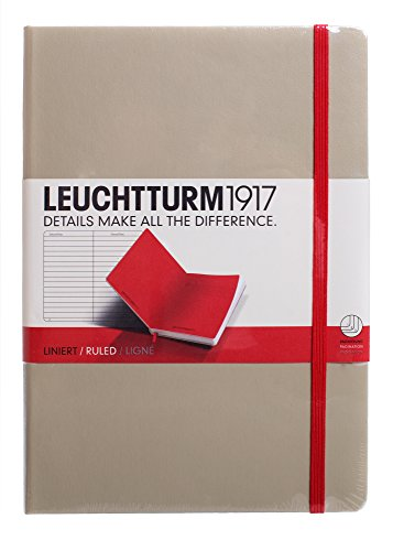 LEUCHTTURM1917 Sand and Red Hard Cover Journal, Medium (A5) 5.71 x 8.27 - Lined/Ruled