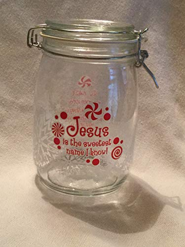 (Jesus is the Sweetest Name I Know, JESUS Candy Jar, Jesus Christmas Candy Jar, Christian Gift)