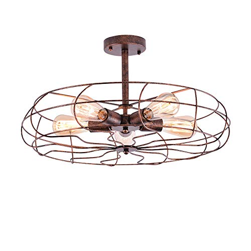 Industrial Vintage Semi Flush Mounted Ceiling Light -LITFAD 21