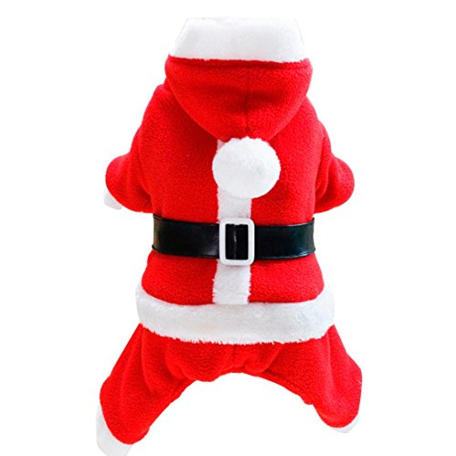 [DEESEE(TM) Christmas Pet Dog Cat Winter Clothes Puppy Warm Coat Four Legs Lover Cloth Costume (XL, Style] (4xl Santa Costume Uk)