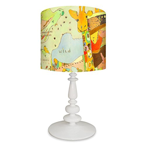 Oopsy Daisy PE4391 Lamp Together Animal Kingdom Canvas Shade with White Resin Base