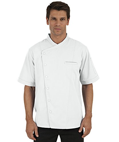 Men's Short Sleeve Chef Coat with Mesh Sides (XS-3X, 2 Colors) (Large, White) by ChefUniforms.com (Image #6)