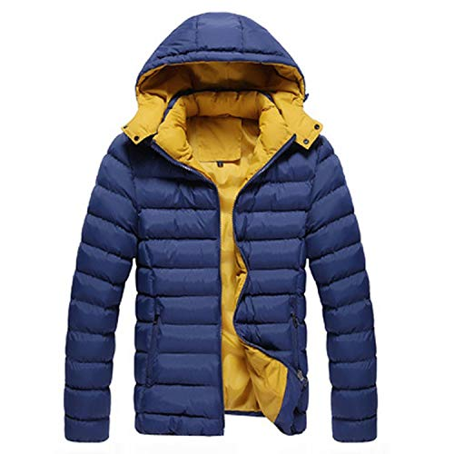Winter Men Jacket Fashion Hooded Thermal Down Cotton Parkas Male Casual Hoodies Win,Orange,M