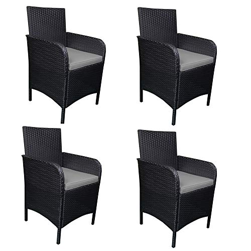 MCombo Outdoor Patio Rattan Wicker Furniture Dining Table Chair 4pc Cushioned Black (Grey) 6089-0081-1-EY
