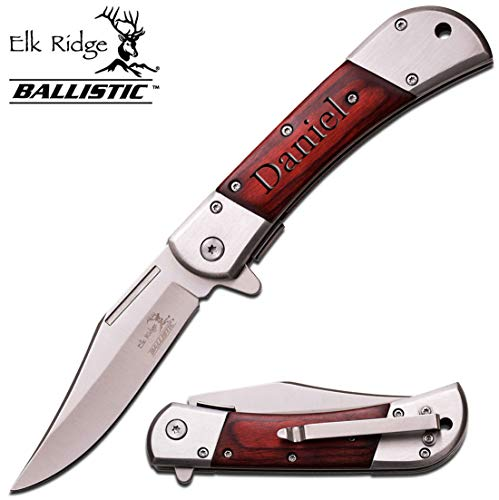 Groomsmen Pocket Knives - Elk Ridge Personalized Laser Engraved Tactical Pocket Knife, Fathers Dad for Day, Groomsmen Gift, Graduation Gifts, Gifts for Men, (ER-A009SW)
