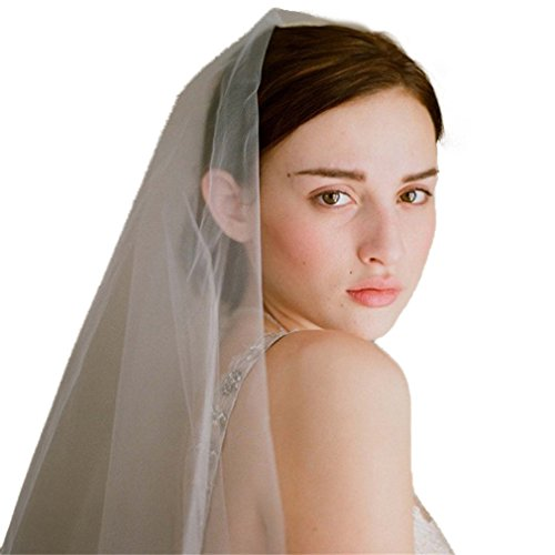 Cereoth rustic bridal veil ivory 2 Tiers fingertip with comb (Tulle Circle Veil White)