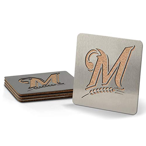 MLB Milwaukee Brewers Boasters, Heavy Duty Stainless Steel Coasters, Set of 4