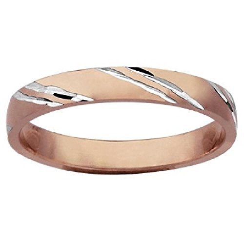 So Chic Jewels - Vermeil - Silver Gilt (Pink 18k Gold over 925 Sterling Silver) - 3 mm Diagonally Carved Wedding Band Ring - Size 10 - Customisable: Your Message Engraved Free
