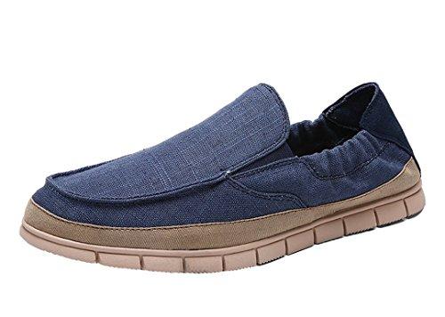 Tda Heren Trendy Ademende Low Cuff Elastische Linnen Outdoor Sneaker Donkerblauw