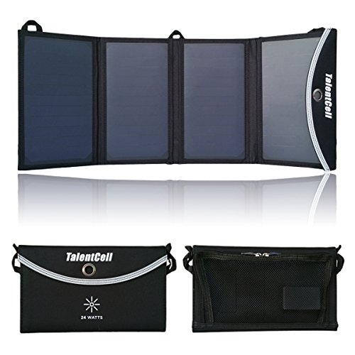 Foldable Solar Charging Panel (TalentCell 24W Foldable Solar Panel Charger with 3 Port Output for Charging All types of 12V Rechargeable Batteries and Most 5V)